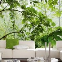 Deco Wall Peintures murales In The Jungle Light Lit Wallpaper, Green Wallpaper, Outdoor Sofa, Outdoor Furniture Sets, Outdoor Decor, Photo Mural, Landscape Walls, Wall Art For Sale, Cool Posters