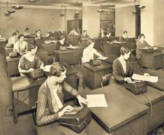 female office workers in the twenties | accounting office brooklyn ny 1925 early office museum archives