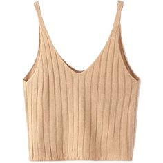 Khaki V-neck Spaghetti Strap Knit Crop Top ($21) ❤ liked on Polyvore featuring tops, v-neck tops, crop top, beige crop top, beige top and vneck tops