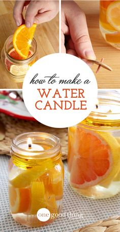These beautiful water candles are perfect for any special occasion. Sliced, fresh citrus is suspended in water, with a floating wick and oil right on top! candles How To Make A Beautiful Mason Jar Water Candle Mason Jar Candles, Mason Jar Lighting, Scented Candles, Reuse Candle Jars, Reuse Jars, Bottle Candles, Oil Candles, Floating Candles, Pot Mason Diy