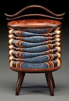 Terry Evans | Rare Wood Box with Coolibah Burl, Wenge, Blue Corian