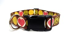 Peace Love and Happiness Adjustable Collar  1  by MuttsandMittens