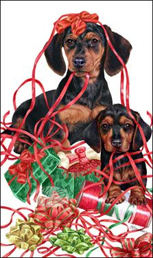 """Dachshund Christmas cards are 8 1/2"""" x 5 1/2"""" and come in packages of 12 cards. One design per package. All designs include envelopes, your personal message, and choice of greeting. Select the greeting of your choice from the drop-down menu above. Add your personal message to the Comments box during checkout."""