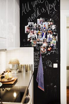 Black Board - Totally doing this in the kitchen. Probably not a great idea to hang tea towel there though!