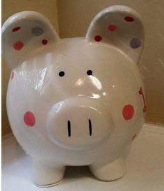 Completely customizable large ceramic piggy bank that can match any theme, room, name, etc. Piggy Bank, Ladybug, Etsy, Image, Piglets, Hand Made, Money Box, Money Bank, Ladybugs