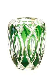 A fine Val St Lambert emerald green and clear glass vase, French, circa 1930