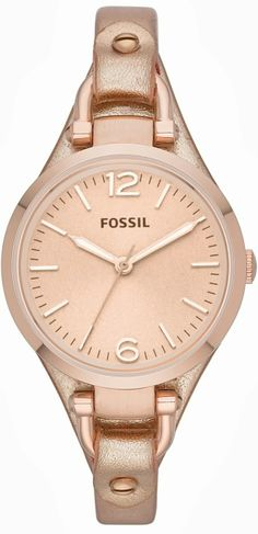 Fossil Georgia Metallic Rose Leather Ladies Watch #ES3413