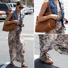 Jessica Alba Maxi Dress and Denim Vest May 22, 2012