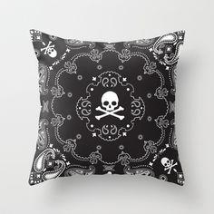 Skull Bandana Throw Pillow by LookHUMAN