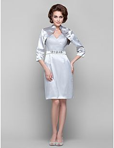 Sheath/Column V-neck Knee-length Stretch Satin And Tulle Mother of the Bride Dress