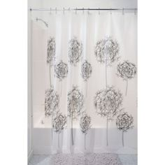The InterDesign Allium Shower Curtain features purple and black allium flowers on a white background. Made of PVC Free PEVA that is waterproof, Clean Shower Curtains, Striped Shower Curtains, Shower Curtain Hooks, Bathroom Shower Curtains, Zen Bathroom Decor, Thing 1, Bathroom Pictures, Curtain Fabric, Mold And Mildew