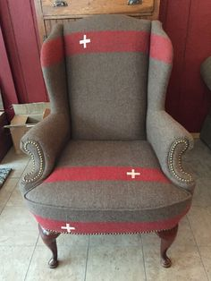 Army blanket reupholstered chair
