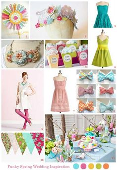 Since most of you are springing forward today,  instead of presenting the usual weekly roundup I thought I'd make you a spring-flavored wedding inspiration board. This collection of pastel hued awesomeness includes DIY touches and, of course, a funky retro vib