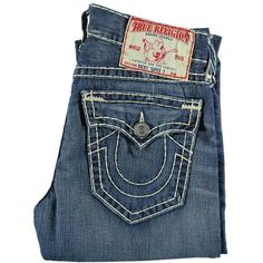 True Religion Men's Ricky Super Stitch Pioneer Blue Denim Jeans ($305) ❤ liked on Polyvore featuring men's fashion, men's clothing, men's jeans, jeans, bottoms, denim, mens jeans, pants, mens straight leg jeans and mens urban jeans