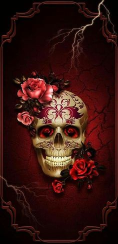 Wallpaper from Zedge Caveira Mexicana Tattoo, Sugar Skull Artwork, Sugar Skull Wallpaper, Skull Rose Tattoos, Day Of The Dead Art, Skull Pictures, Skeleton Art, Skeleton Watches, Candy Skulls