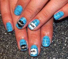 """The heartbreaking book-turned-movie was the inspiration for this manicure by Kelsie's Nail Files. Blogger Kelsie combined a newspaper technique with painted clouds from the novel's cover, plus the book's famous way to say """"I love you"""": """"Okay."""""""