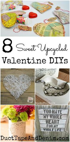 8 sweet upcycled Valentine DIY. More Valentine's Day projects on DuctTapeAndDenim.com