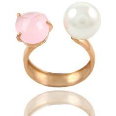 Sortija Plata Piedra Rosa Y Perla