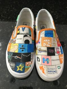 Tv/album cover shoes image 1 Source by artsyssb fashion drawing Customised Vans, Custom Vans Shoes, Mens Vans Shoes, Custom Painted Shoes, Painted Vans, Painted Sneakers, Vans Men, Boy Shoes, Adidas Shoes