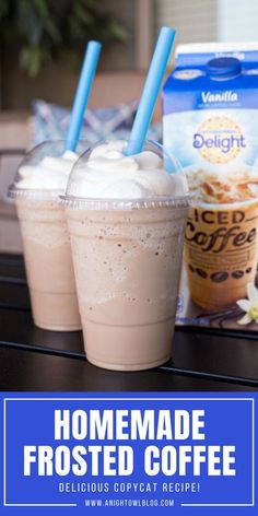 Homemade Frosted Coffee – the perfect coffee treat for the summer! Easy Chick-fil-A copycat recipe. #Chickfila #FrostedCoffee #Coffee #Recipe Kid Drinks, Yummy Drinks, Yummy Food, Beverages, Healthy Food, Coffee Drink Recipes, Dessert Recipes, Frozen Coffee Drinks, Starbucks Recipes