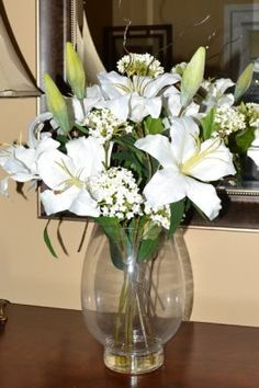 "Grand White Lillie with Faux Water AR328 - Magnificant display of white lillies in elegant glass vase, brings some of nature inside. 22"" H x 10 "" W"