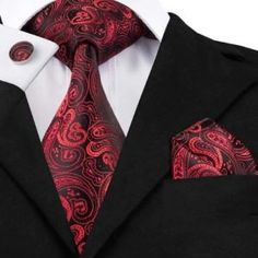 Quality Red Black Paisley Tie Hanky Cufflinks Sets Men's Silk Ties for men Formal Wedding Party Groom Luxury Male Gravata with free worldwide shipping on AliExpress Mobile Mens Silk Ties, Men Ties, Tie And Pocket Square, Pocket Squares, Novelty Ties, Paisley Tie, Paisley Color, Cufflink Set, Tie Styles