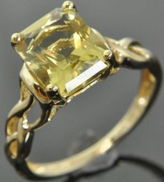 Hong Kong 14K Yellow Gold Emerald Cut Green Yellow Zircon Solitaire Ring Sz 8.25 #Solitaire