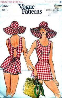 On SALE Vintage Vogue Pattern 9230 - Adorable Swimsuit with Peplum & Briefs and Wide Brim Hat - Bust 34 or 36 - Cut/Complete