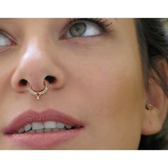 Tribal Septum Ring -Septum Jewelry - Septum Piercing - Gold Septum... ($78) ❤ liked on Polyvore featuring jewelry, pierceings, yellow gold jewelry, 14 karat gold jewelry, 14k gold jewelry, tribal jewelry and tribal jewellery