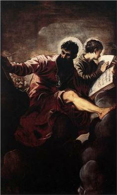The Evangelists Mark and John - Tintoretto.  1557.  Oil on canvas.  257 x 150 cm.  Santa Maria del Giglio, Venice, Italy.