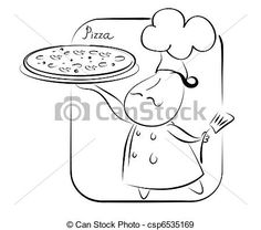 Vector - Chef and pizza.Pizza recipe background for text. - stock illustration, royalty free illustrations, stock clip art icon, stock clipart icons, logo, line art, EPS picture, pictures, graphic, graphics, drawing, drawings, vector image, artwork, EPS vector art