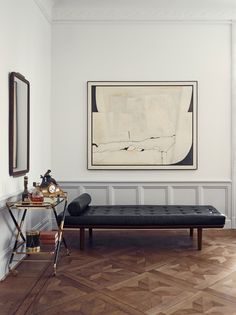 "lifeonsundays: "" The Stockholm apartment of interior stylist Joanna Lavén, featured in Elle Decoration Sweden: Hans J. Wegner´s daybed model for Getama, Denmark, "" Leather Daybed, Stockholm Apartment, White Apartment, Parquet Flooring, Floors, Interior Exterior, Room Interior, Elle Decor, Interior Inspiration"