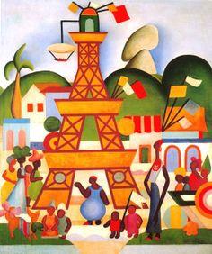 """A obra """"Carnaval da Madureira""""(1924), de Tarsila do Amaral, escreve bem a formação da artista. Tarsila retrata o carnaval, símbolo de referência brasileira, e ao mesmo tempo traz a figura da Torre Eiffel no meio da pintura. A mistura do local com o francês fica muito evidente na obra, que sintetiza a ambiguidade dos modernistas."""