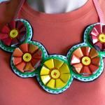 How to make a recycled coffee bag flower bib necklace