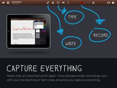 CaptureNotes 2 ($0.99) CaptureNotes 2 lets you take your notes, your way. Select the paper style, font, pen size and color. Audio recording allows you to make the most of the audio portions of your lecture. Take photos with your iPad or import photos from your iPad photo library.   Write, Type, Record Audio - pinpointing critical items with Flags, Import PDFs, add and take Photos, Share to Dropbox and Evernote and keep it all beautifully organized.