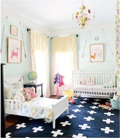 Aimee- for a big girl room: light walls + navy rug  SO cute with pops of color everywhere