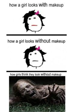 its all psychological, really...i went most of yesterday without makeup and it wasn't that bad. you should try it