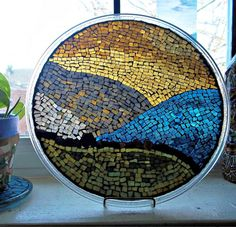 "Mosaic Stained Glass Plate - ""A New Horizon"" - Abstract - Mixed Media"