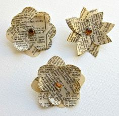 Paper Flower Push Pins from vintage book pages. Easy and cute!