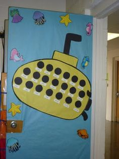 Fabulous Firsties: Back to School Activities Bulletin Boards Ocean Bulletin Board, Back To School Bulletin Boards, Classroom Bulletin Boards, Classroom Door, Classroom Displays, Classroom Themes, Classroom Resources, School Doors, Grande Section