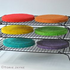 Gluten free rainbow cakes trimmed on the non-stick cooling rack Rainbow Cakes, Baking Supplies, Colour Inspiration, Cake Art, Thanksgiving, Gluten Free, Things To Come, Cool Stuff, Desserts