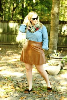 Fall Essentials: Faux Leather Skirt, Chambray Button-Up, Leopard Flats, Plaid Scarf