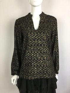 TBAGS LA Long Sleeve V-Neck Check Print Metallic Pullover Top Black Gold $178 B3 #TBags #Blouse #Casual
