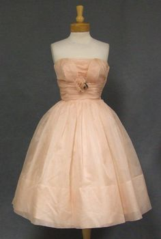 Dusty Pink Organdy Strapless Vintage Cocktail Dress w/ Rose http://www.vintageous.com