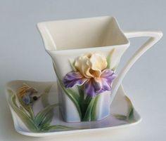 franz porcelain - Iris teacup and saucer Vintage Tee, Cuppa Tea, Teapots And Cups, China Tea Cups, Kintsugi, My Cup Of Tea, Chocolate Pots, Tea Cup Saucer, Tea Time