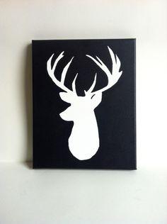 deer bedroom decor | White Deer Head Silhouette 8x10 Painting by HisDarlinWife on Etsy