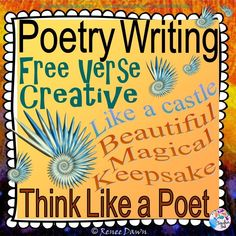 Poetry Writing: Kids will create free verse poems that are breath-taking display pieces. Creative, divergent thinking pops off the page. Complete writer's workshop lessons—16 in all—will build poetry step-by-step. Lists, charts and examples support each lesson. For K - 5