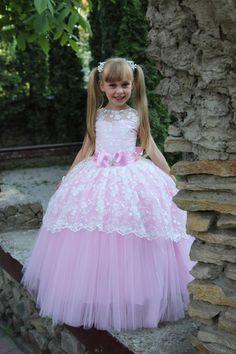 Lace Flower Girl Dress Birthday Wedding by KingdomBoutiqueUA