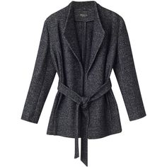 Precis Petite Riley Textured Wrap Coat, Mid Grey ($48) ❤ liked on Polyvore featuring outerwear, coats, petite, grey coat, gray wrap coat, gray coat, leather-sleeve coats and short coat