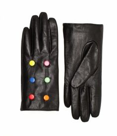 candy button leather gloves, kate spade.